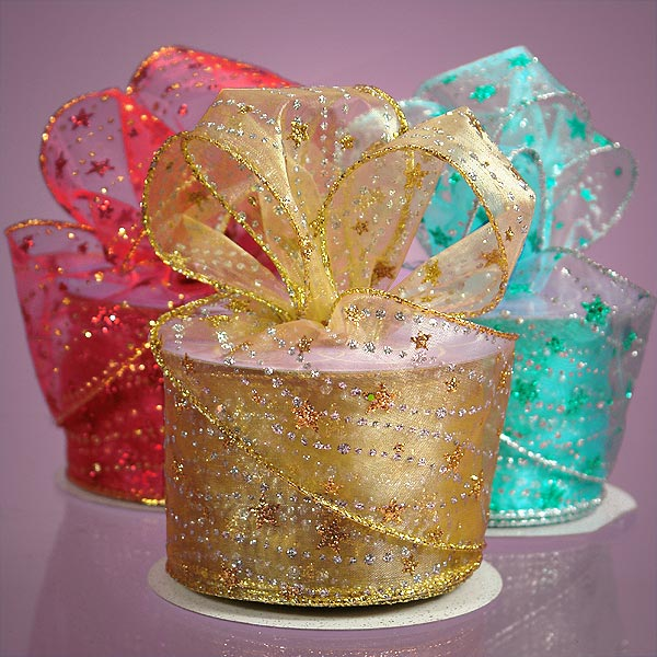 Glitter Stars Sheer Ribbon