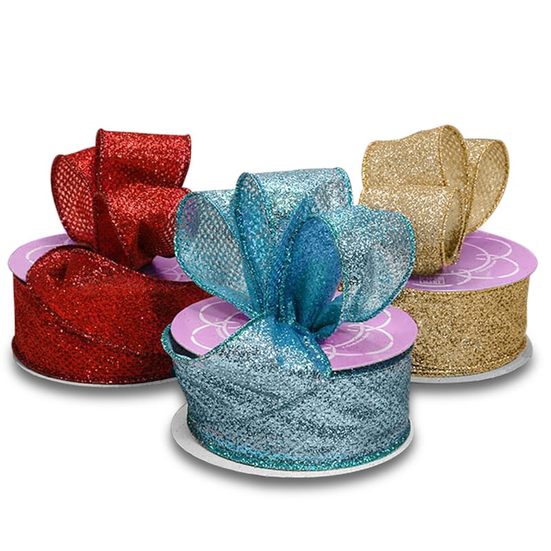 Lamé Glitter Wired Ribbon | Ribbons from Paper Mart