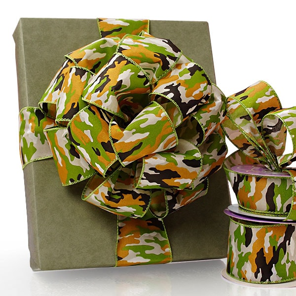 Camouflage Wired Satin Ribbons