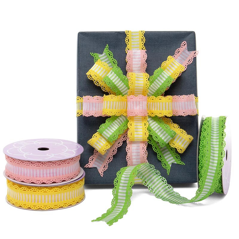 Striped With Lace Edge Wired Ribbon