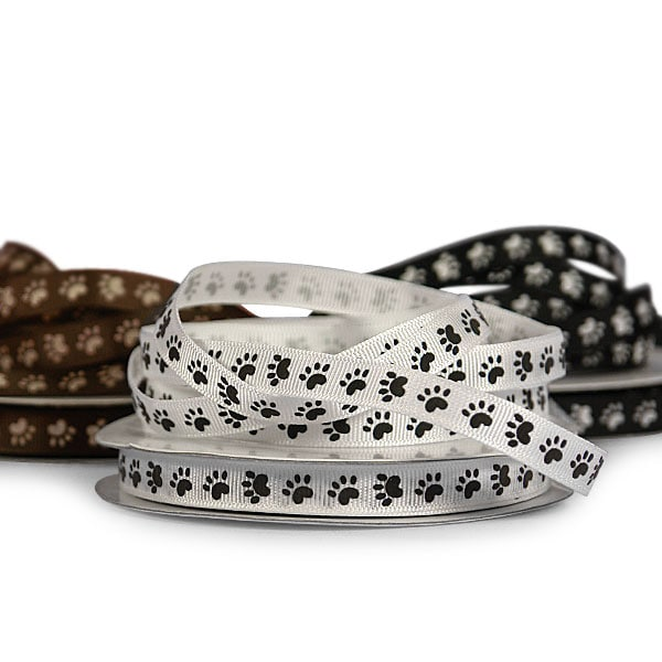 Narrow Paw Print Grosgrain Ribbon
