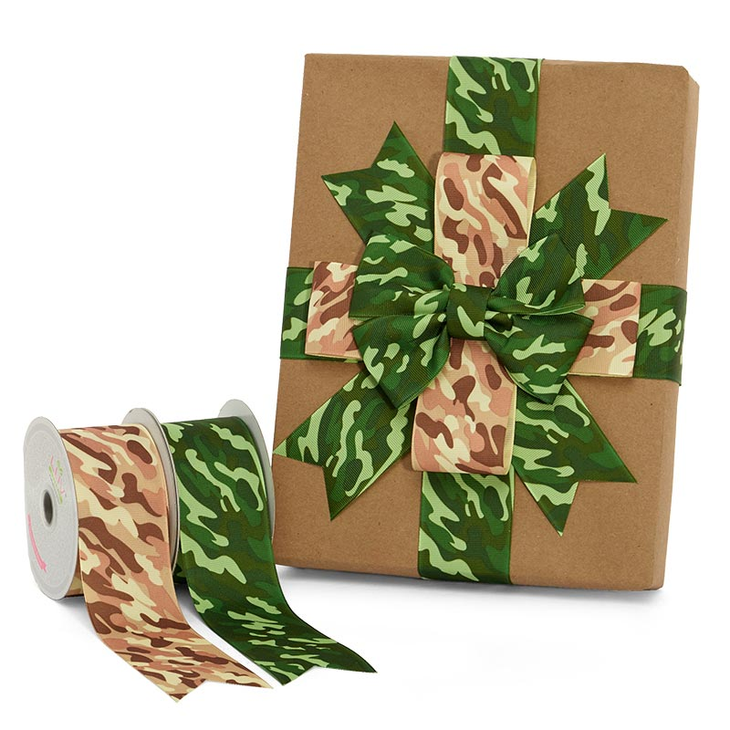 Camouflage Patterned Grosgrain Ribbon