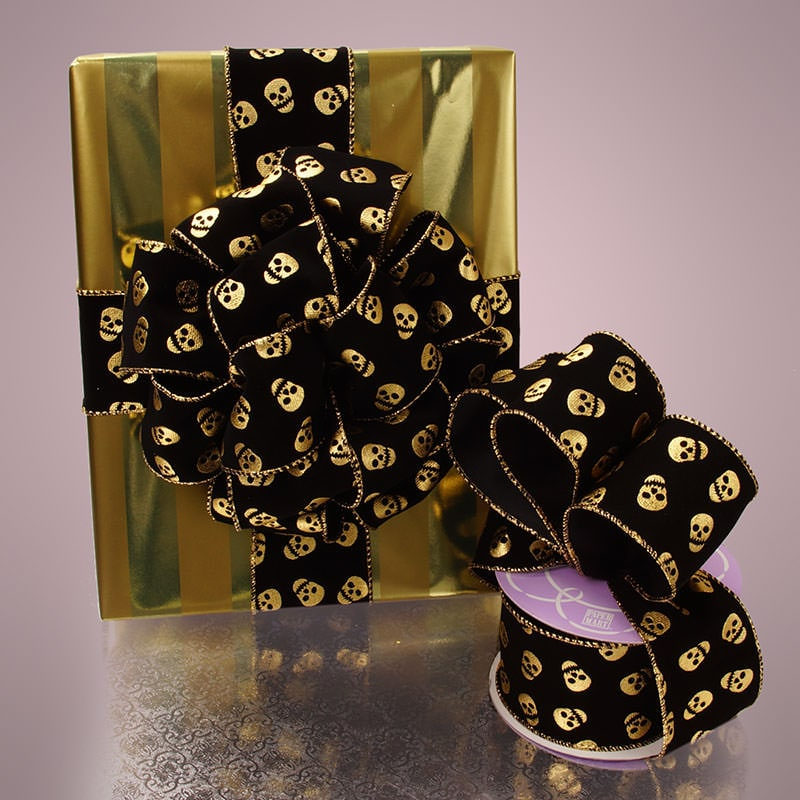 Golden Skulls Wired Ribbon