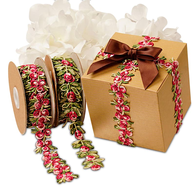 Colored Embroidered Flowers Lace Ribbon