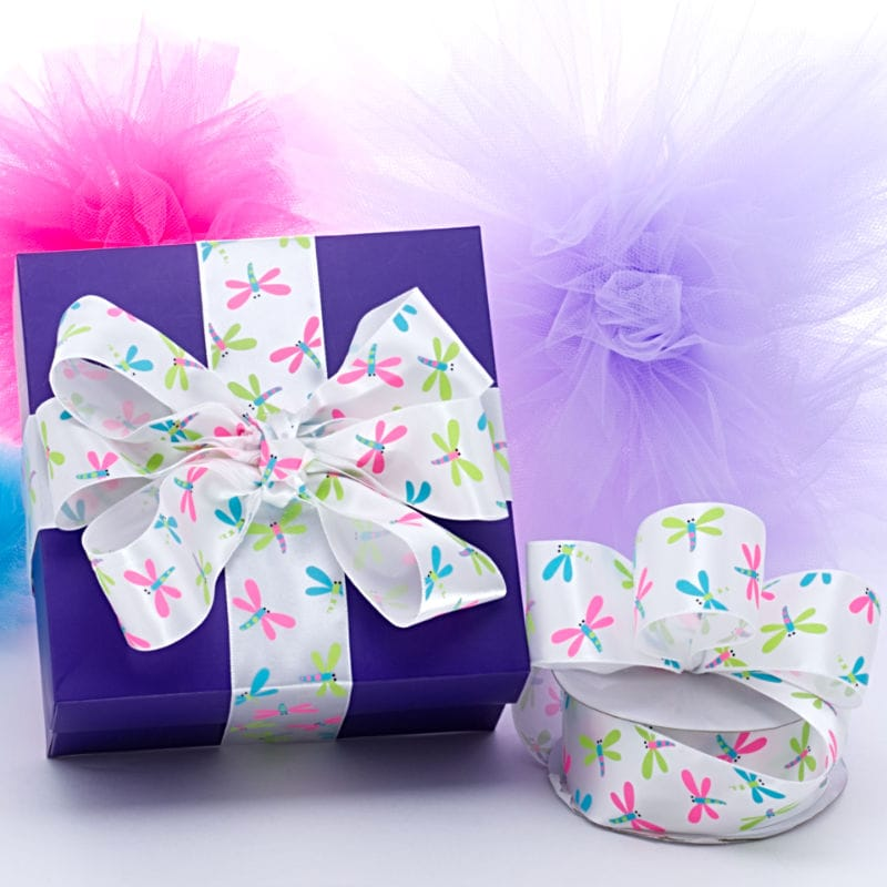 White Dragonfly Satin Ribbon