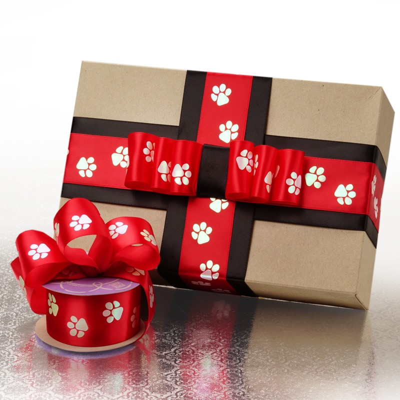 Red Paw Print Satin Ribbon