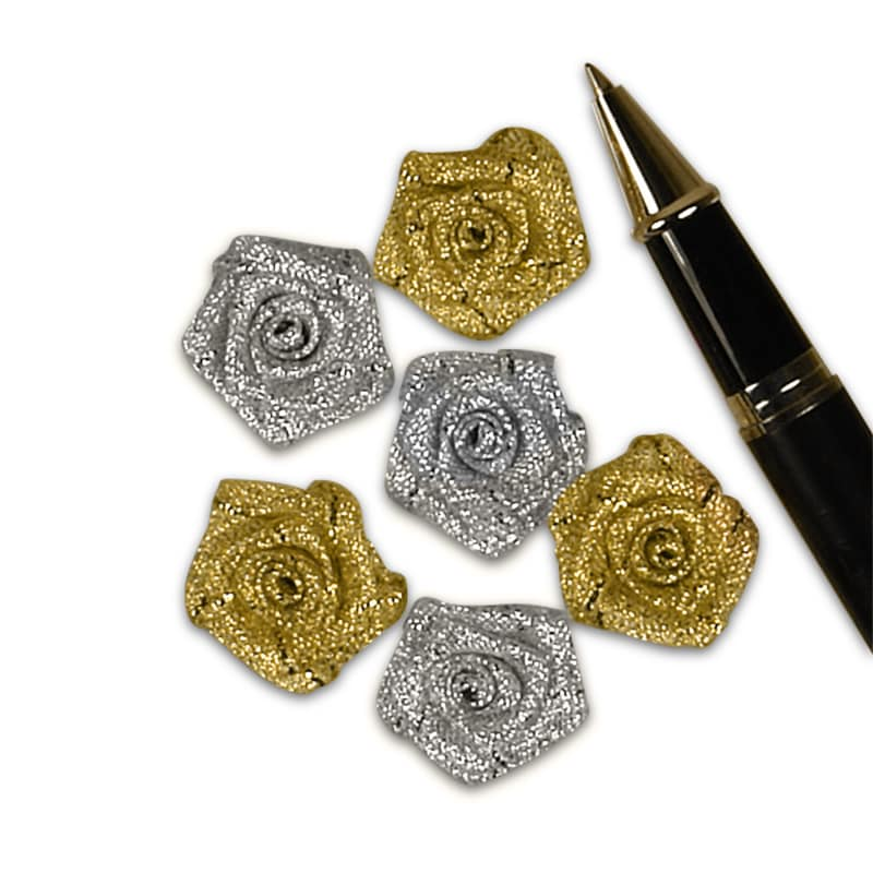 Tiny Metallic Lurex Roses