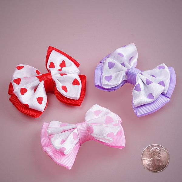 Pre-Tied Hearts Print Double Quadra Bows