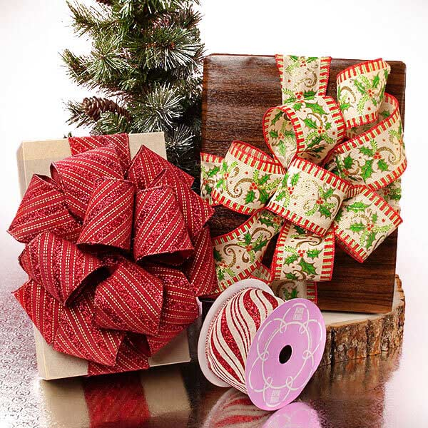 Christmas Natural Wired Ribbon Collection