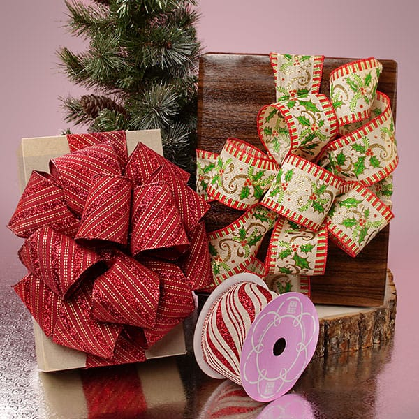 Wide Christmas Natural Wired Ribbon
