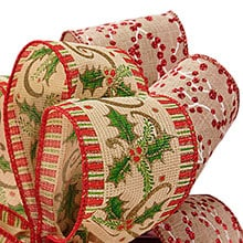 prints patterned christmas natural wired ribbons