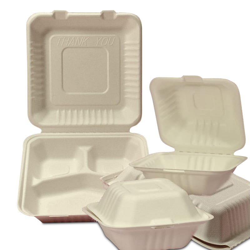 Molded Fiber Clamshell Take-Out Containers