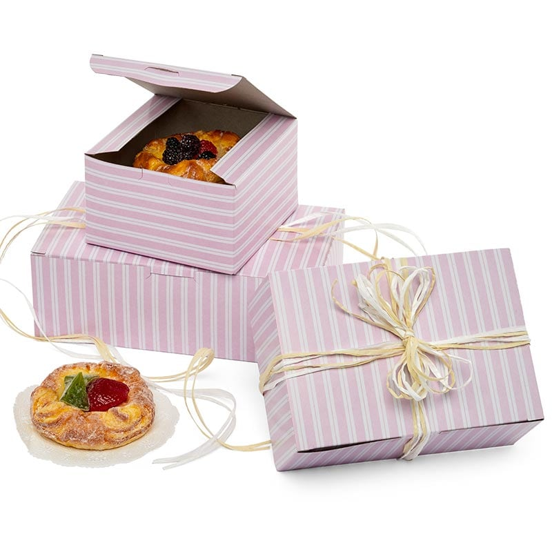 Pink & White Stripe Easy Set-Up Pastry Boxes