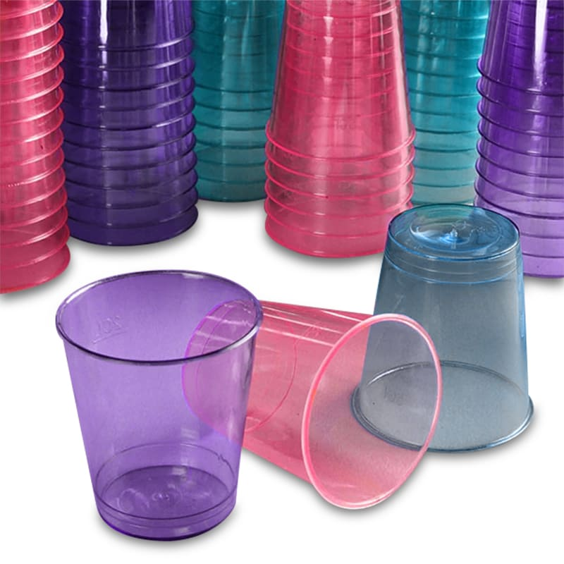 Colored Clear Plastic Shot Cups