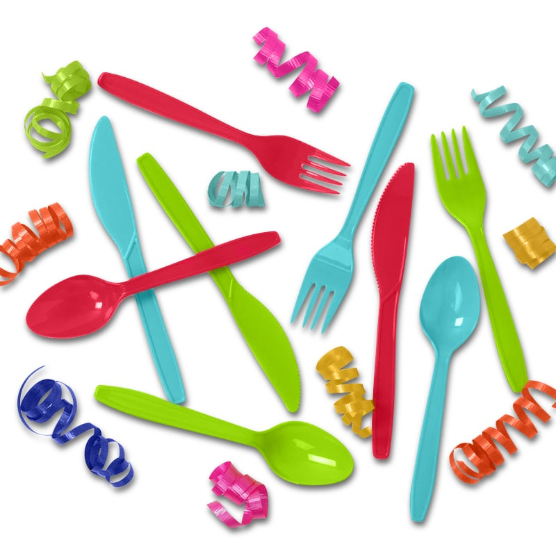 Colored Party Plastic Cutlery Sets