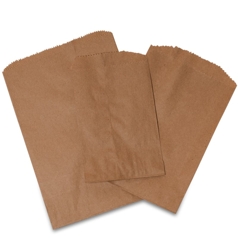 Brown Paper Merchandise Bags Are Flat And Available In A Variety Of Sizes Our Feature Serrated Top To Make Them Easier Open
