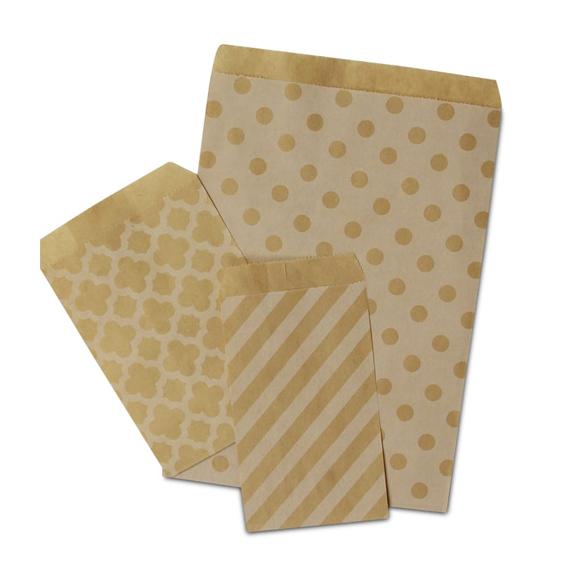 Patterned Kraft Merchandise Bags