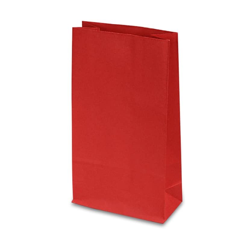 """#2 Red SOS Bags Colored - 4 X 2-1/2 X 8-1/4 - Gusset - 2 1/2"""" - Quantity: 500 - Paper Merchandise Bags by Paper Mart"""