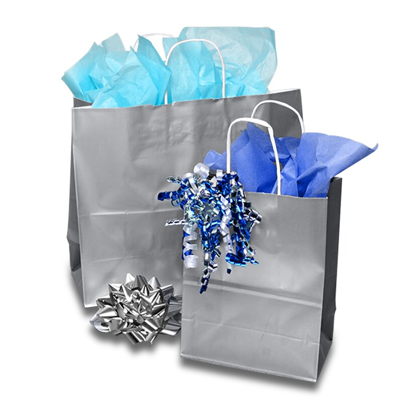 Metallic Ink Glossy White Shopping Bags