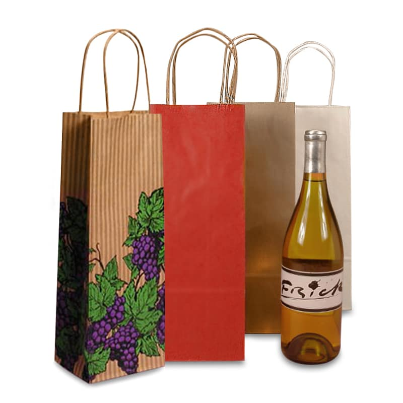 Twisted Handle Paper Wine Bags