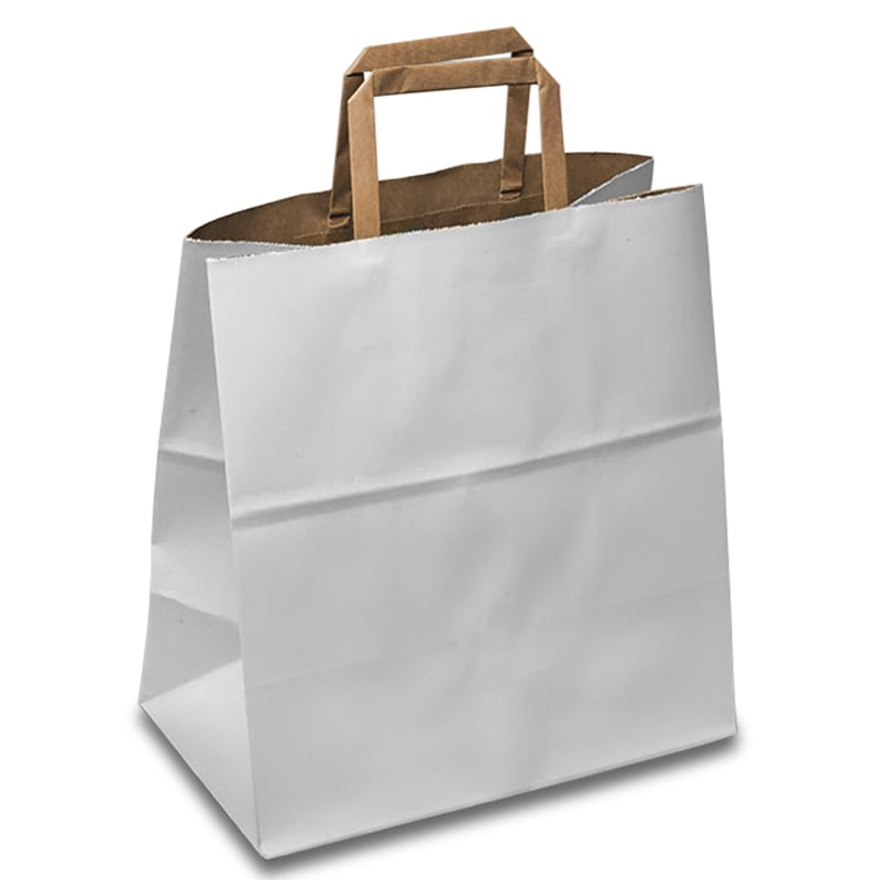 White / Kraft Versa Recycled Grocery Bags | Paper Mart