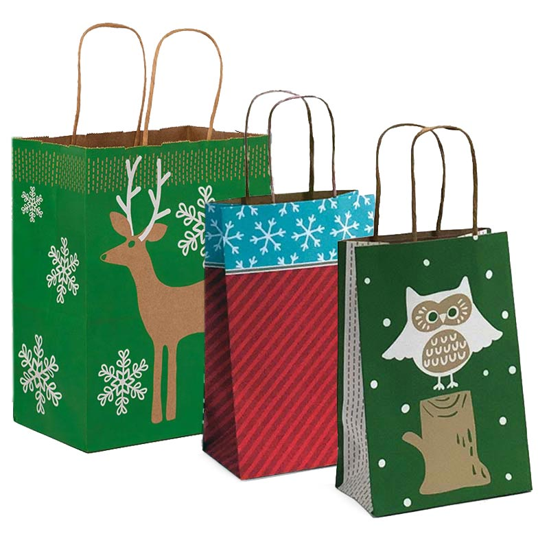 Winter Patterned Shopping Bags With Brown Interior
