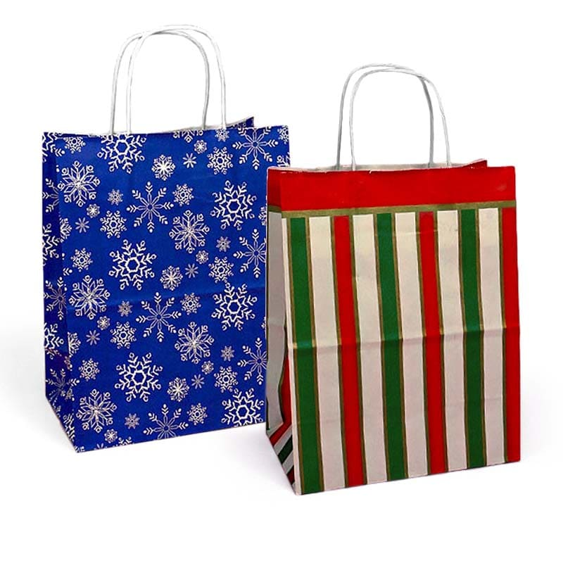 Assorted Patterned Shopping Bags With White Interior