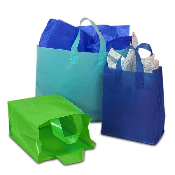 Colored Frosted Bags With Loop Handles Shop Paper Mart