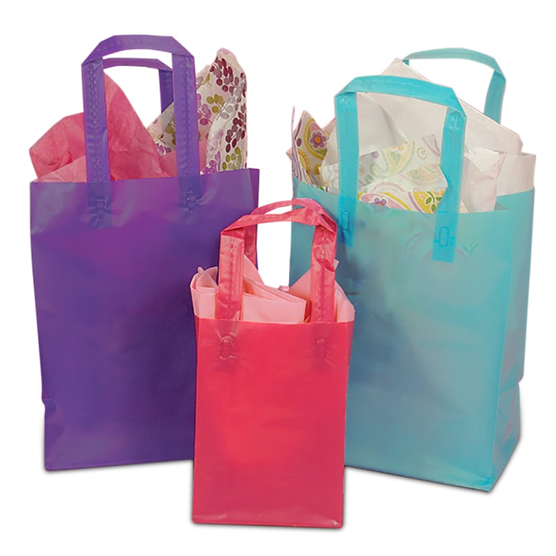 Colored Tri-Fold Plastic Handle Bags