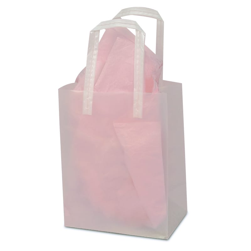 Clear Frosted Tri-Fold Plastic Handle Bags