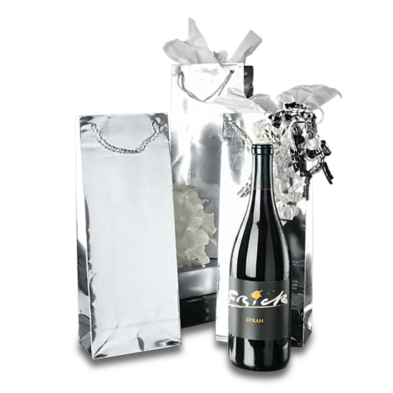Metallic Paper Wine Bottle Euro Tote