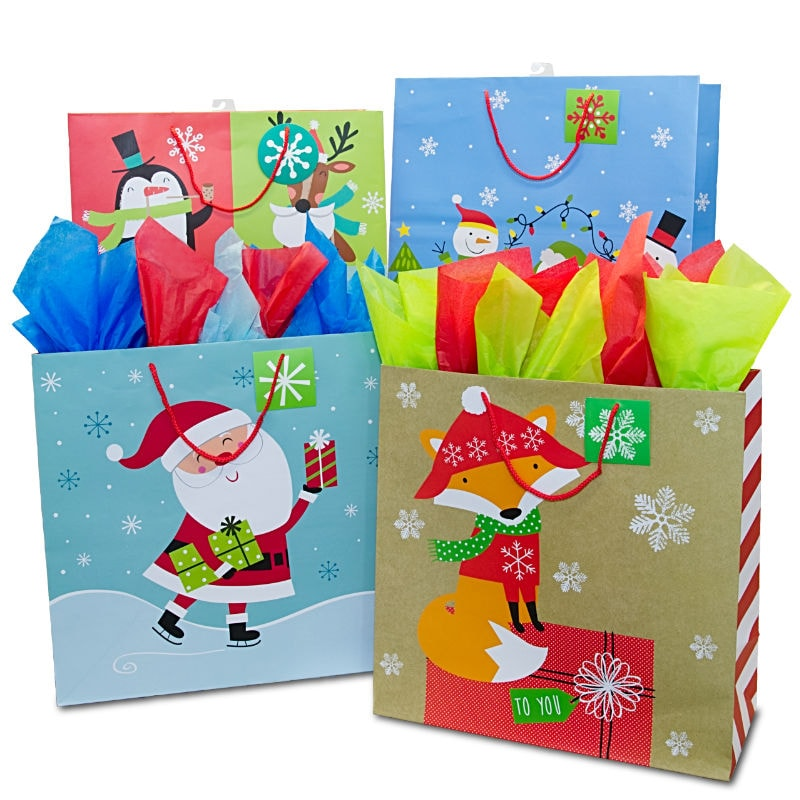 Paper gift bags plastic gift bags shop paper mart assorted square jumbo christmas gift bags negle Gallery