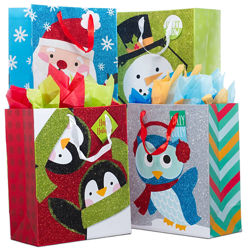 Assorted Christmas Tri-Glitter Bags