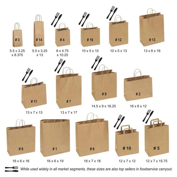 Large paper shopping bags with handles
