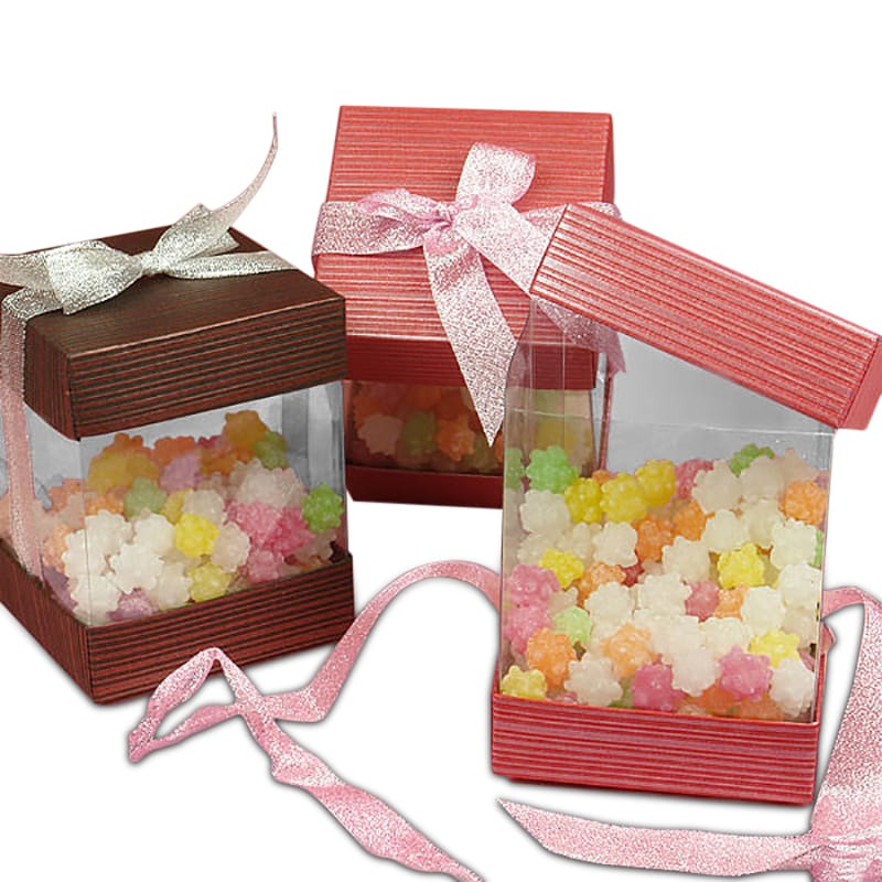 Clear Side Square Boxes With Cap & Bow