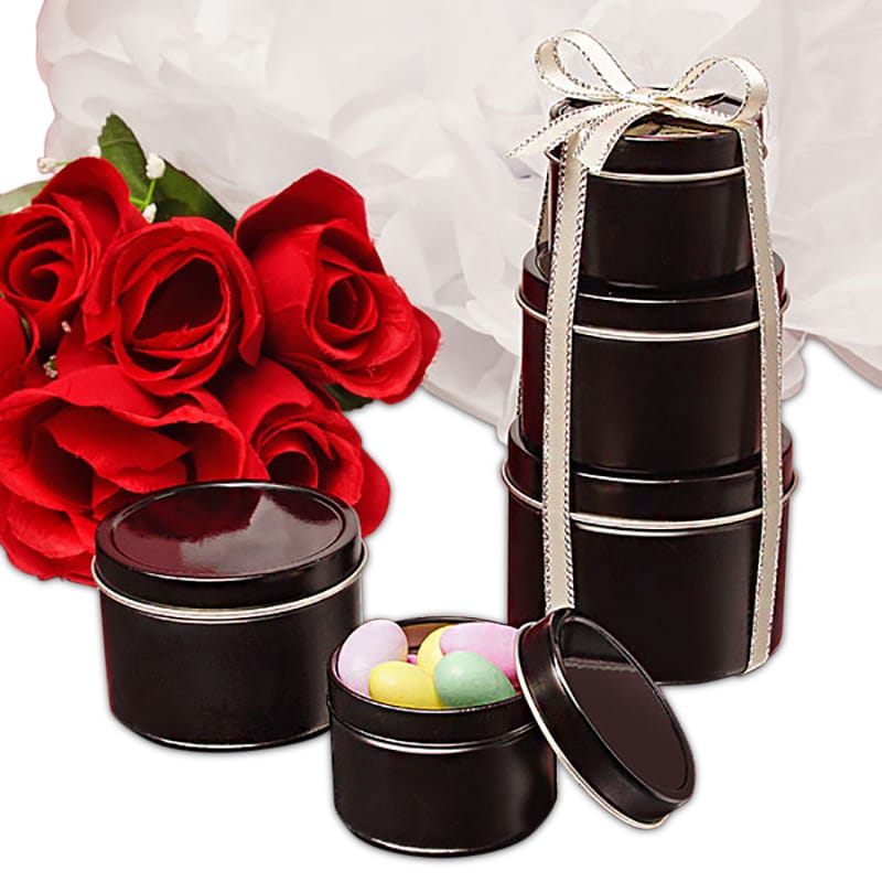 Black Deep Round Tin Cans