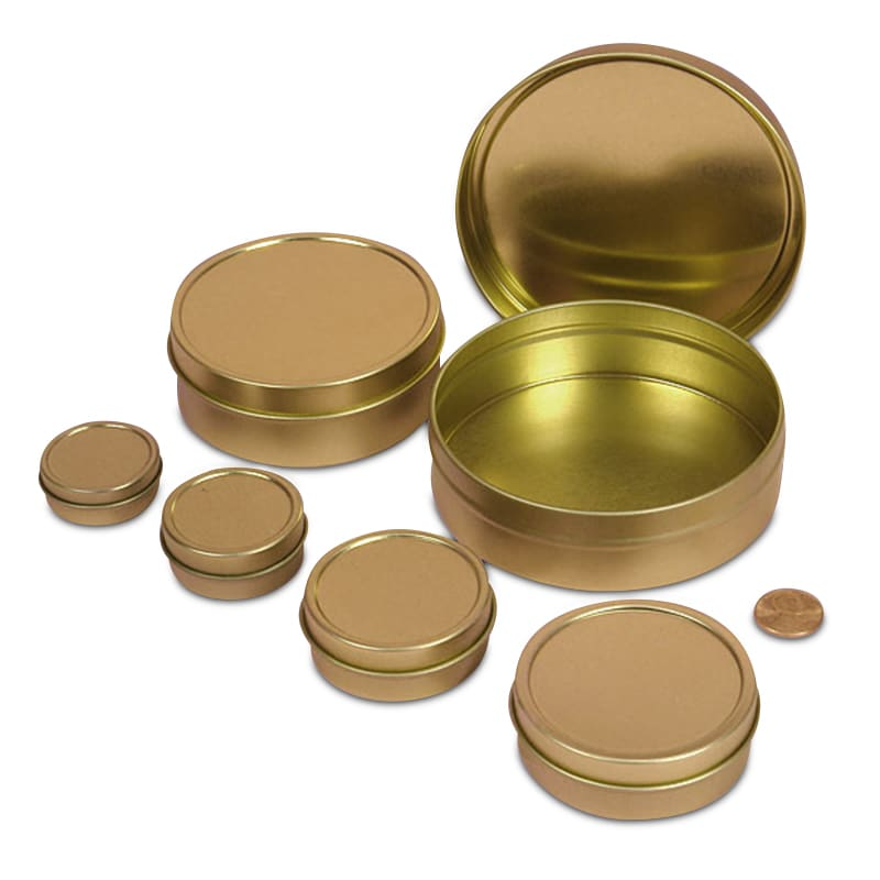26bca79ca2 Shallow Round Tin Cans · Gold Shallow Round Tin Cans ...