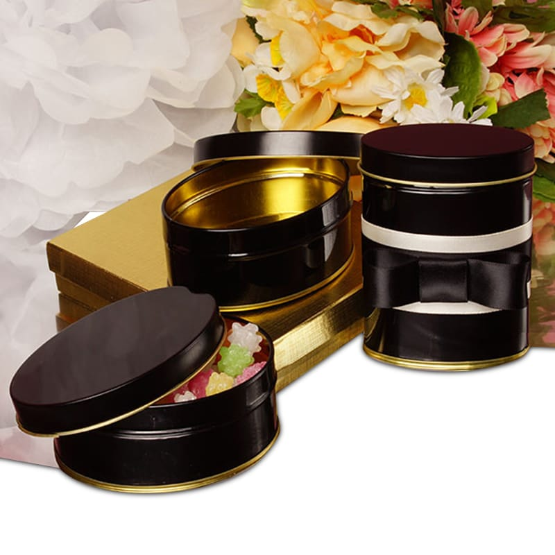 Elegant Black & Gold Oval Tin Cans