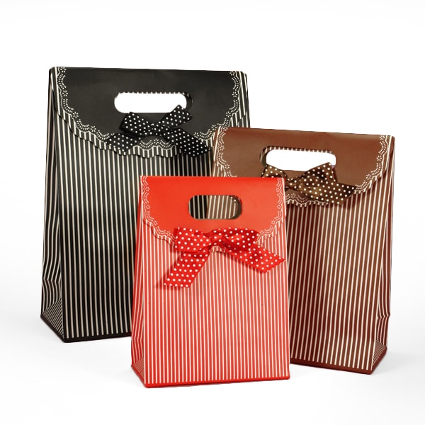 Pinstripe Tab Top Tote Boxes