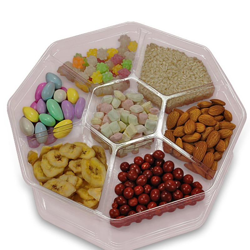 Octagonal Divided Plastic Food Containers & Lids
