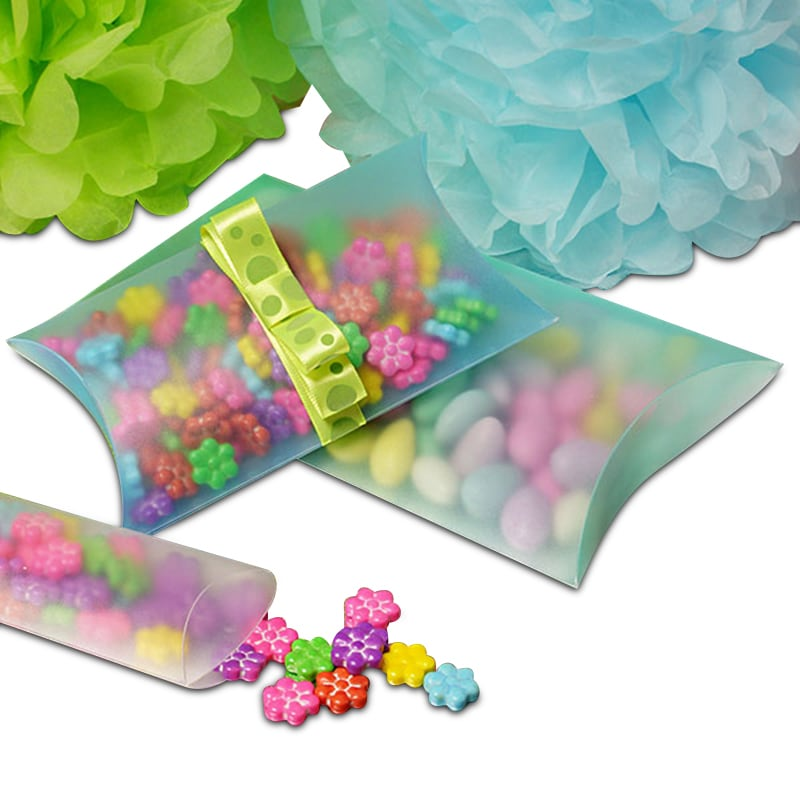 Clear & Colored Frosted Plastic Pillow Boxes