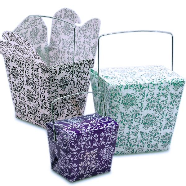 Damask Plastic Wire Handle Boxes