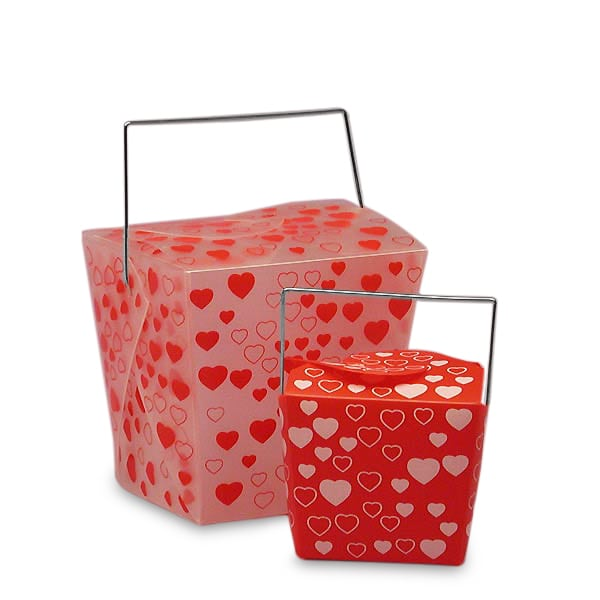 Heart Pattern Plastic Wire Handle Boxes