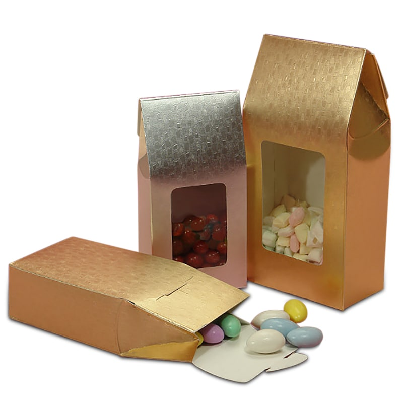 Windowed Upright Metallic Embossed Paper Candy Boxes