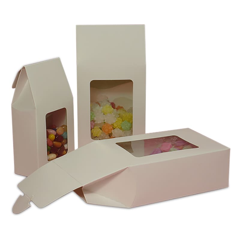 White Rectangular Window Upright Candy Boxes