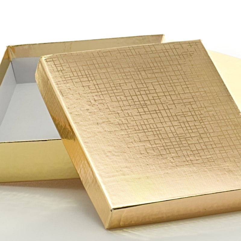 Two-Piece Gold Linen Embossed Rigid Candy Box