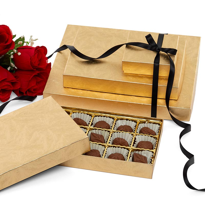 Elegant Gold Embossed Rigid Candy Boxes