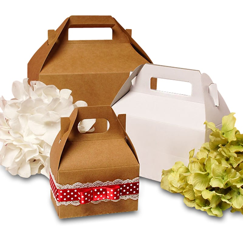 Kraft & White Gable Gift Boxes