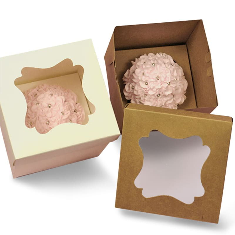 Two Piece Window Cupcake Box With Insert