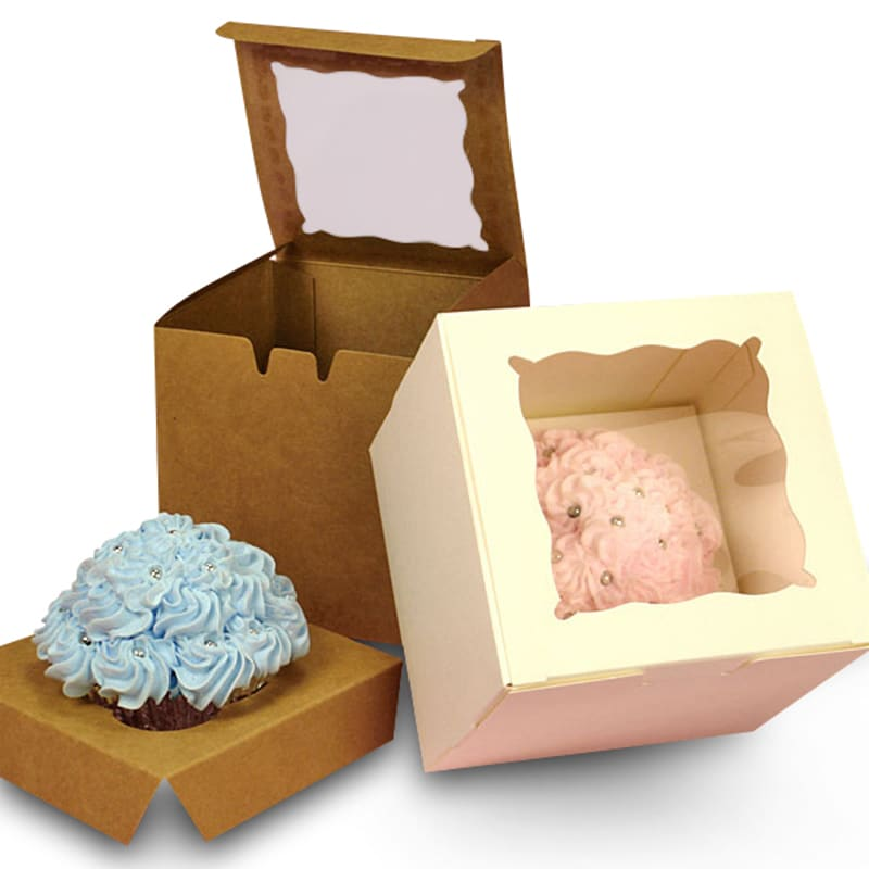 One Piece Window Cupcake Box With Insert